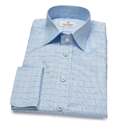 Niebieska koszula VAN THORN w kratę z kołnierzykiem półwłoskim  41