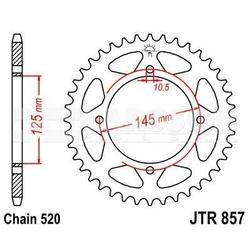 Zębatka tylna stalowa jt 857-40, 40z, rozmiar 520 2300588 yamaha xt 600