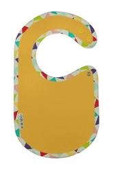 Śliniaczek clickbibs żółty z lamówką w kolortowe trójkąty