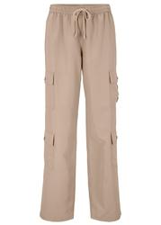 Spodnie bojówki z naszywanymi kieszeniami bonprix migdałowy beżowy