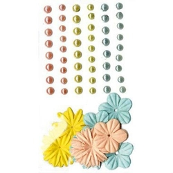 Samoprzylepne perełki+ozdobne kwiatki - 75 szt. - MIX
