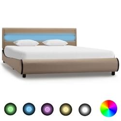Vidaxl rama łóżka z led, kolor cappuccino, sztuczna skóra, 140x200 cm
