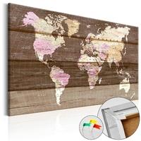 Obraz na korku - drewniany świat mapa korkowa