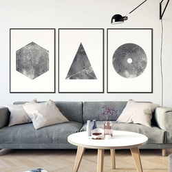 Grunge geometry - komplet trzech plakatów w ramach , wymiary - 70cm x 100cm 3 sztuki, kolor ramki - biały
