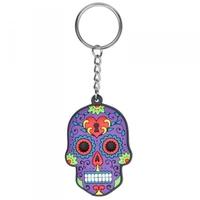 Meksykańska czaszka fioletowa - breloczek do kluczy