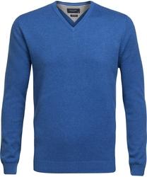 Niebieski sweter w serek  profuomo z bawełny pima xxl