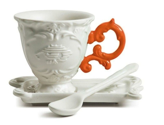 Filiżanka do kawy ze spodkiem i łyżeczką I-Coffee pomarańczowa