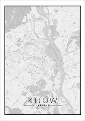 Kijów mapa czarno biała - plakat