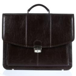 Polska skórzana teczka męska elegancka biznesowa ciemnobrązowa g6 - c. brązowy