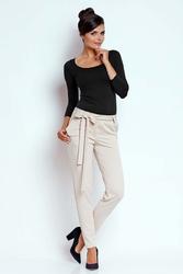 Beżowe stylowe spodnie z wiązaną szarfą