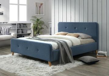Łóżko ewana 140x200 tapicerowane niebieskie