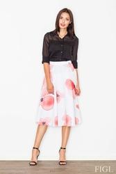 Biało-różowa spódnica midi w kwiaty