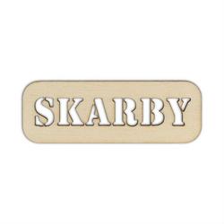 Drewniana tabliczka z napisem SKARBY - 05