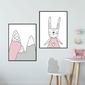 Zestaw plakatów dziecięcych - pink adventure , wymiary - 50cm x 70cm 2 sztuki, kolor ramki - czarny