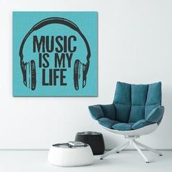 Music is my life - modny obraz na płótnie , wymiary - 50cm x 50cm