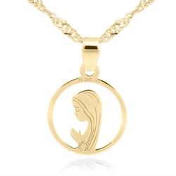 Złoty medalik z matką boską fatimską w okręgu pr. 585 dedykacja - białe z niebieską kokardką