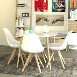 Nowoczesny okrągły biały stół 100x100 cm stylu retro