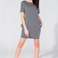 Szara prosta mini sukienka z kieszeniami