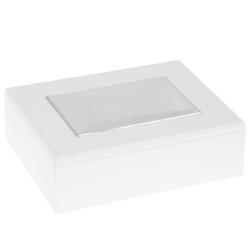 Biała drewniana szkatułka posrebrzana grawer