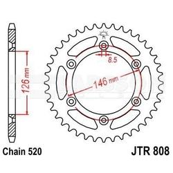 Zębatka tylna stalowa jt 808-49, 49z, rozmiar 520 2301266 suzuki dr 350, rm 125
