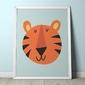 Tygrys - plakat dla dzieci , wymiary - 70cm x 100cm, kolor ramki - czarny