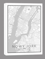Nowy jork mapa czarno biała - obraz na płótnie