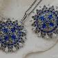 Ambrosia - srebrny komplet szafiry i kryształy