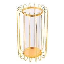 Świecznik metalowy altom design szprosowy złoty 19 x 19 x 32 cm z wkładem szklanym