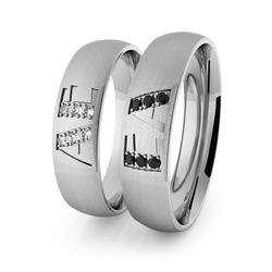 Obrączki ślubne klasyczne z białego złota palladowego 5 mm z inicjałami i brylantami  - 80
