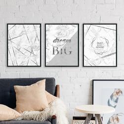 Zestaw trzech plakatów - silver modernity , wymiary - 30cm x 40cm 3 sztuki, kolor ramki - czarny