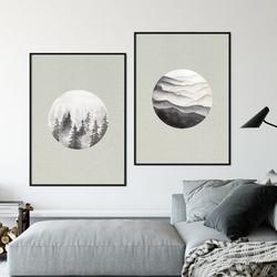 Zestaw dwóch plakatów - mountains woods , wymiary - 50cm x 70cm 2 sztuki, kolor ramki - biały