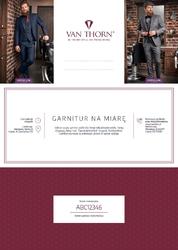 Karta podarunkowa na garnitur szyty na miarę van thorn + koszula gratis voucher papierowy