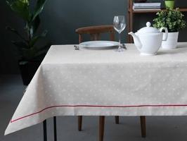 Obrus na stół altom design beżowy  czerwona lamówka 130 x 160 cm