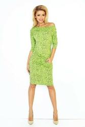 Jasno zielona midi sukienka ściągana w pasie wzór pamiętnik