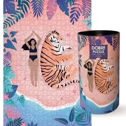 Puzzle girl and the tiger - wyjątkowe puzzle z niepowtarzalnymi ilustracjami, 500 elementów, odprężający prezent dla przyjaciela i przyjaciółki