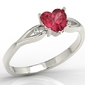 Pierścionek z białego złota z czerwonym topazem w kształcie serca i diamentami lp-71b