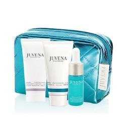 Juvena zestaw nawilżający w błękitnej kosmetyczce żel intensywnie nawilżający + serum intensywnie nawilżające + pianka oczyszczająca aqua recharge gel + aqua recharge essence + clarifying cleansing foam - 25 ml + 10 ml + 30 ml