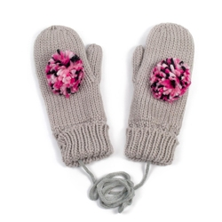 Rękawiczki z POMPONEM damskie beżowe - BEIGE