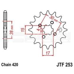 Zębatka przednia jt f253-14, 14z, rozmiar 420 2200324 honda z 50, nsr 50, cy 50