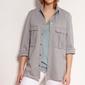 Koszulowa bluza z dużymi kieszeniami - szara