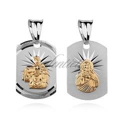 Srebrny medalik jezus  matka boska szkaplerzna dwustronny pozłacane postacie