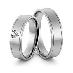 Obrączki ślubne z białego złota niklowego z sercem i brylantami - au-973