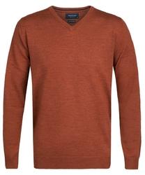 Elegancki miedziany sweter prufuomo z delikatnej wełny merynosów xxl
