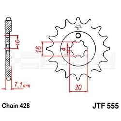 Zębatka przednia jt f555-14, 14z, rozmiar 428 2200318 kawasaki kx 85, kx 65