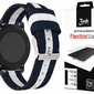 Pasek Welling nylon Samsung Gear S3 watch 46mm granatowo biały + 3x Szkło 3mk FG - Biały    Granatowy