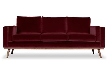 Sofa nenuphar 3-osobowa welurowa welur bawełna 100 bordowy