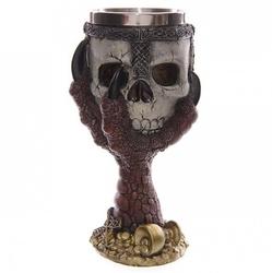Czerwona smocza łapa trzymająca czaszkę - kielich dekoracyjny