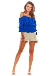 Niebieska krótka bluzka hiszpanka