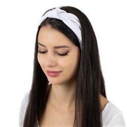 Opaska do włosów turban bandamka biała węzeł