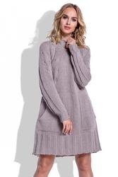 Swetrowa Mocca Sukienka Oversize z Kieszeniami